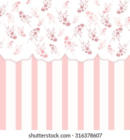 Vintage background with pink silhouettes of roses and stripes