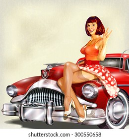 Vintage background with pin-up girl and retro car.