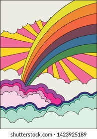 Vintage Background, Psychedelic Art Hippie Style Poster from the 1960s