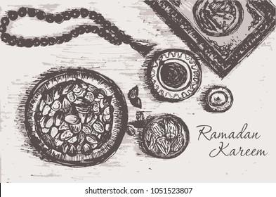 vintage background for Ramadan Kareem.Vector illustration.