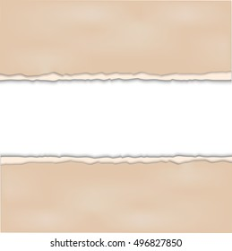 Vintage background with ripped old paper and red ribbon. Vector illustration