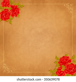 Vintage background with roses. Vector greeting card, invitation template