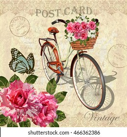 Vintage background with roses,butterflies and  bicycle.