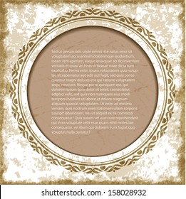 Vintage background with round frame and copyspace.