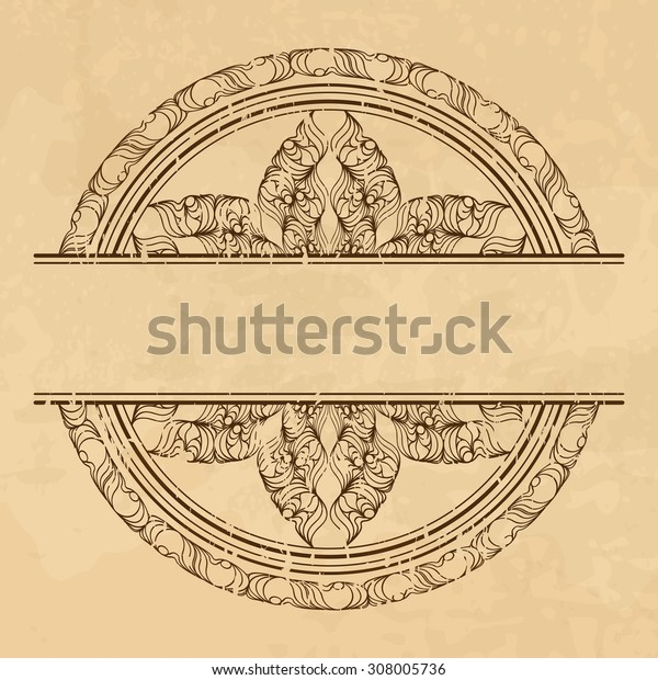 Vintage background with a scratched round floral frame. There is a seamless border in the brush palette