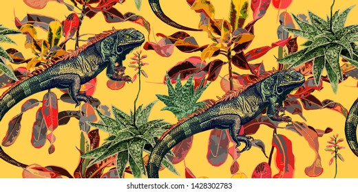 Vintage background with tropical plants and lizards. Iguanas, cactus and ficus on yellow background. Leaves, flowers and reptiles. Vector illustration. Design for textiles, wallpaper, paper, Hawaiian