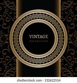 Vintage background, vector gold ornament, decorative round frame