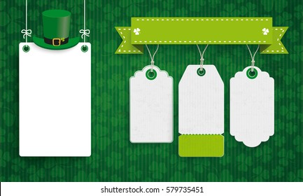 Vintage background with white frame and price stickers for St Patricks Day. Eps 10 vector file.