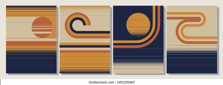 Vintage Backgrounds from the 1970s, Retro Colors, Stripes Patterns
