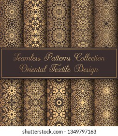 Vintage backgrounds. Luxury islamic seamless patterns. Golden mandala ornate. Elegant weave ornament for wallpaper, fabric, paper, invitation print. Abstract flower damask vector. Forged floral motif.