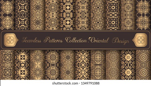 Vintage backgrounds. Luxury seamless patterns. Golden design elements. Elegant weave ornament for wallpaper, fabric, paper, invitation print. Abstract flower damask vector. Forged floral motif.