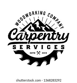 Vintage badge wood carpentry logo template with mountain element and saw isolated on white background - vector