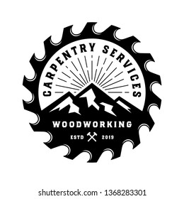 Vintage badge wood carpentry logo template with mountain element black color and saw isolated on white background - vector
