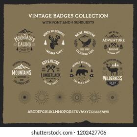 Vintage badges collection with 6 sunbursts. Adventure set.  Textured vintage vector t-shirt and apparel design, print, logo, poster. Vector