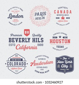 Vintage badges collection. T shirt gpaphics for print and other user. Vector.