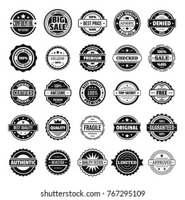 Vintage badges and labels stamp icons set. Simple illustration of 25 vintage badge and label stamps vector icons for web