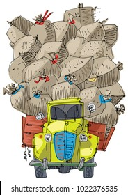 An vintage badly overloaded lorry is full of cargo. Cartoon. Caricature.