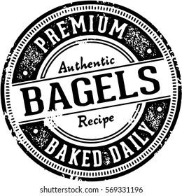 Vintage Bagels Stamp Imprint for Bakery