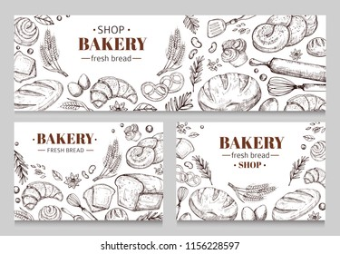 Vintage bakery banners with sketched bread vector set. Illustration of bakery card sketched, food bun for breakfast