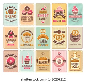 Vintage bakery cards. Delicious pastries cafe shop and cakes vector labels. Donut and cupcake, shop bakery, cooking delicious banner illustration