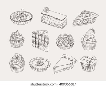 Vintage bakery hand drawn illustration vector set. Sweet pastry, pies, tarts, cupcakes outline drawing