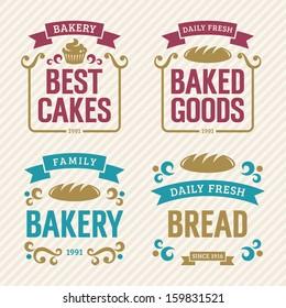 Vintage bakery labels, vector illustration