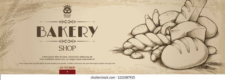 Vintage Bakery shop template banner background with bakery products hand drawn doodle sketch illustration