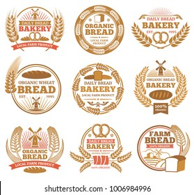 Vintage bakery vector labels with wheat ears and bread symbols. Bakery vintage badge and emblem illustration