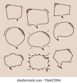 vintage balloon speech bubbles set with short messages vector illustration