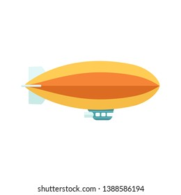 Vintage baloon with basket zeppelin aircraft in the flight. Retro air dirigible journey flat vector illustration isolated on white background.