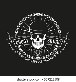 Vintage bandit logo with skull in bowler hat, daggers, ribbon, chain and sunburst on a black background. Vector illustration.