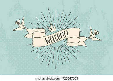 "Vintage banner with birds and sunburst saying ""welcome!"""