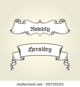 Vintage banner with curls - heraldic ribbons with scrolls, vector