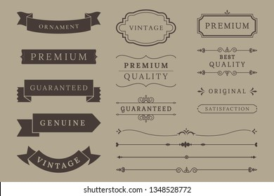 Vintage banner and design element collection vectors
