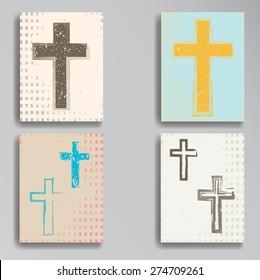 Vintage Banner Designs Collection. Religion Flyers. Cross Symbols in Grunge,Old Style. Vector Illustration.