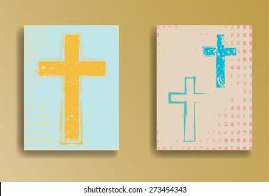 Vintage Banner Designs. Religion Flyers. Grunge Crosses. Vector Illustration.