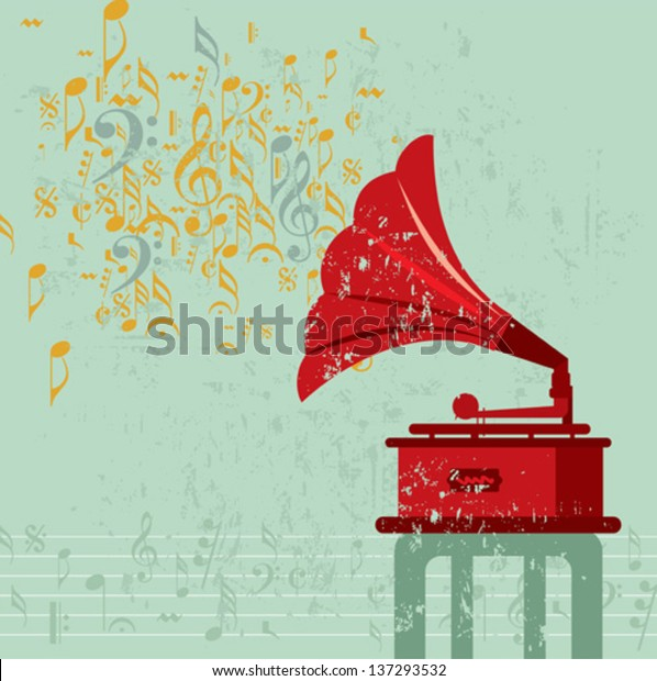 vintage banner old gramophone vector illustration stock vector royalty free 137293532 shutterstock