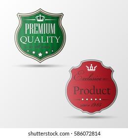 Vintage banner. Retro Design sticker Elements. Useful old paper labels. Vintage style tag premium level. Vector emblem Illustration.