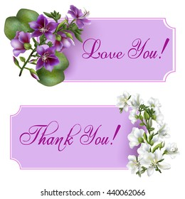 Vintage banners with blooming flowers, 'Thank You' / 'Love You' wording and place for your text. Vector illustration