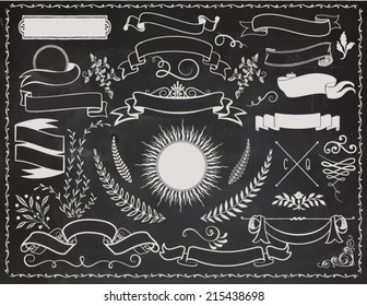 Vintage Banners on Blackboard - Retro vector design elements, including ribbons, branches, swirls, curls, sunburst label and leaves