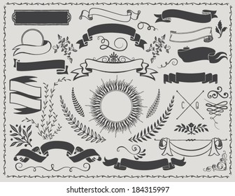 Vintage Banners - Retro vector design elements, including ribbons, branches, swirls, curls, sunburst label and leaves
