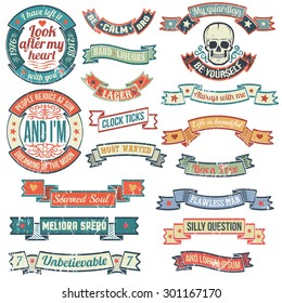 Vintage banners and ribbons needed for the emblems and logos, in grunge style. Logo with skull. Scratches and text are grouped separately and can be easily removed.