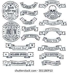 Vintage banners and ribbons of unusual shape with grunge texture. Hipster emblem with skull. Retro elements for logos. Worn layer and text can be easily removed.