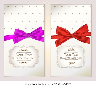 Vintage banners with silk ribbons