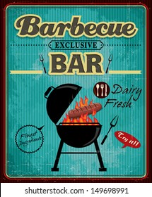 barbecue grill party poster template retro stock vector royalty
