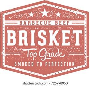 Vintage Barbecue Beef Brisket Restaurant Menu Stamp