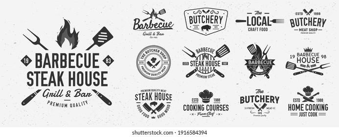 Vintage Barbecue logo set. Set of 13 bbq logo templates. Steak House, cafe, restaurant menu. BBQ, Butchery, Restaurant, Cooking class, Grill emblems. Trendy vintage hipster design. Vector illustration