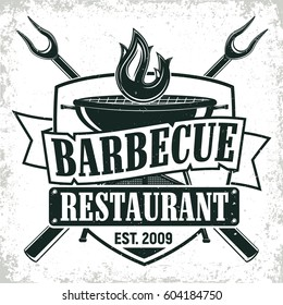 Vintage barbecue restaurant logo design,  grange print stamp, creative grill bar typography emblem, Vector