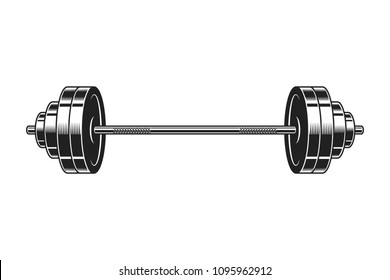 Vintage barbell for bodybuilding icon in monochrome style isolated vector illustration