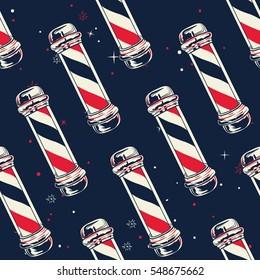 Vintage Barber pole. Seamless pattern with barber poles. Vector illustration.